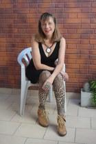 animal print tights - suede wedges