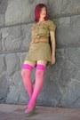 Khaki-dress-animal-print-wedges-stockings