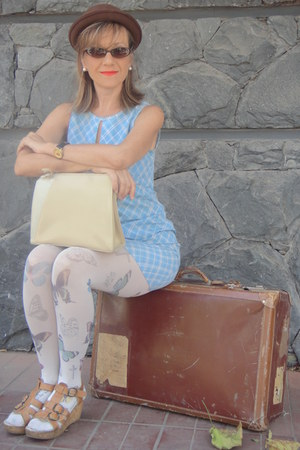 brown bowler hat - dress - tights - bag - cat eye sunglasses - no name sandals
