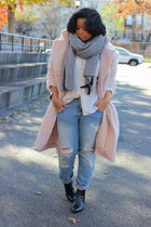 light pink oversized H&M Trend coat - black faux leather Zara boots