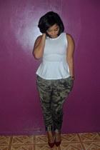 white peplum Topshop shirt - army green harem pants Zara pants