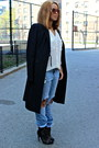 Sky-blue-distressed-h-m-jeans-black-aldo-boots-black-long-bcbg-coat