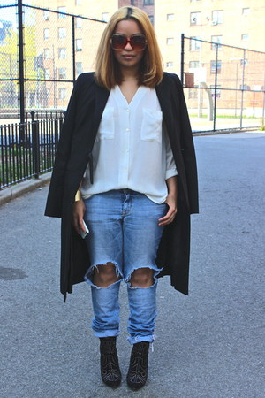 sky blue distressed H&amp;M jeans - black Aldo boots - black long BCBG coat