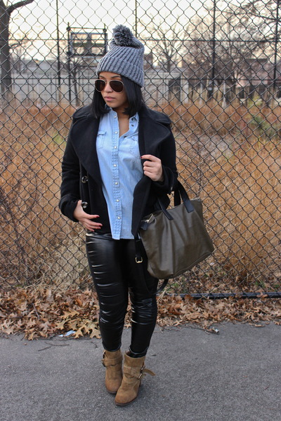 light brown Zara boots - black vjstyle leggings
