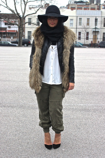 black leather H&amp;M jacket - white H&amp;M shirt - army green Zara pants