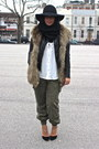 Black-leather-h-m-jacket-white-h-m-shirt-army-green-zara-pants