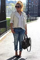 white Forever 21 shirt - blue American Eagle jeans - black Zara heels