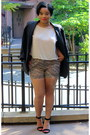 Vintage-blazer-floral-american-apparel-shorts-silk-forever21-blouse
