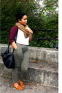 Black-zara-bag-crimson-american-apparel-shirt-light-brown-h-m-scarf
