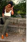 Crimson-american-apparel-shirt-light-brown-h-m-scarf-black-zara-bag