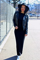 black maxi American Apparel dress - black leather H&M jacket