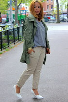 olive green parka necessary clothing jacket - heather gray Topshop shirt