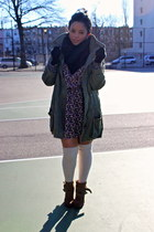 army green Thrift Store coat - light brown Zara boots