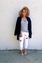 black Nasty Gal blazer - white boyfriend jeans One Teaspoon jeans