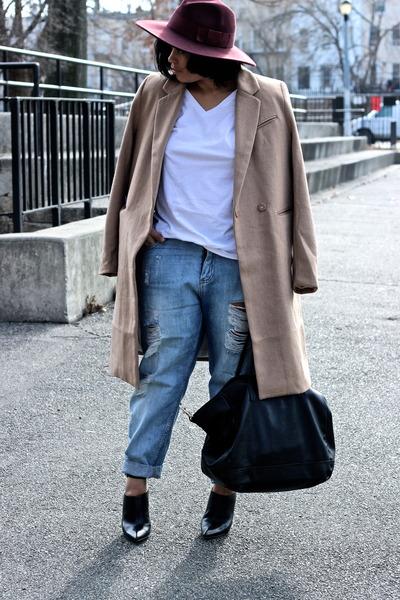 camel wool H&M Trend coat - crimson fedora asos hat