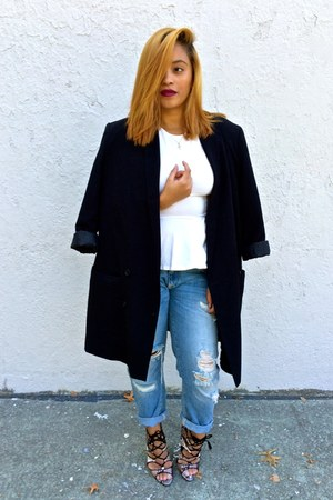 white peplum H&M top - light blue boyfriend jeans Zara jeans