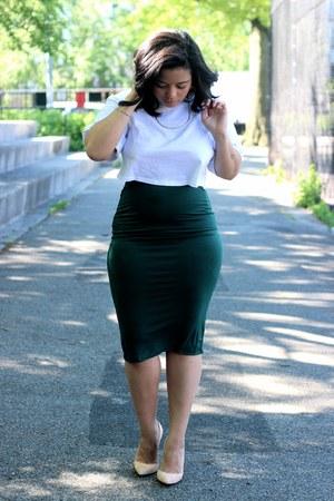 forest green pencil skirt Forever 21 skirt - white crop top asos shirt