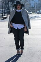 black houndstooth Sheinside coat - dark gray boyfriend jeans H&M jeans