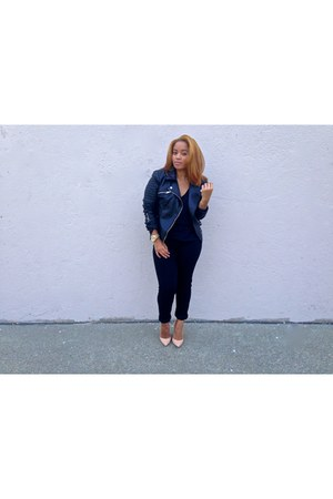 black high waisted Levis jeans - black leather Zara jacket