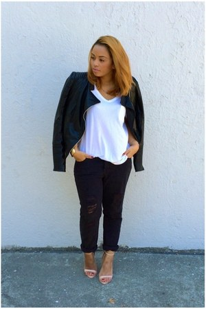 black boyfriend jeans Urban Outfitters jeans - black leather jacket Zara jacket