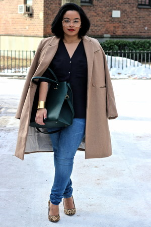 camel wool H&M coat - blue asos jeans - black H&M blouse