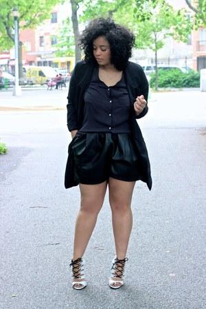 black asos blazer - black leather Zara shorts - black H&M blouse