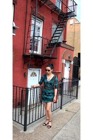 green sweater Forgot dress - mahogany coach bag - rayban sunglasses