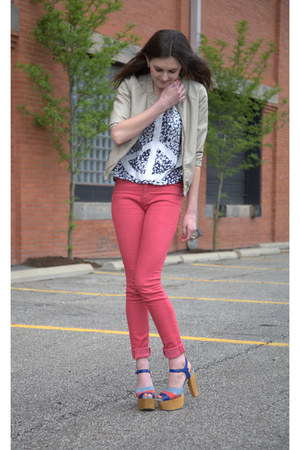 red Urban Outfitters jeans - beige Forever 21 jacket - navy Urban Outfitters top