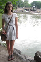 white modcloth dress - camel Cambridge Satchel Company bag