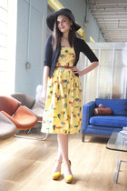 yellow yellow Jeffrey Campbell wedges - yellow bettie page dress