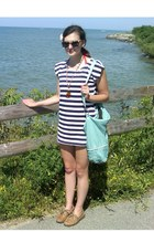 navy sailor stripes modcloth dress - aquamarine Urban Outfitters bag - red modcl