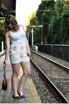white Gap t-shirt - beige Gap shorts - brown Mossimo shoes - brown Mossimo purse