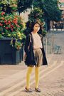 Pink-top-brown-skirt-yellow-primark-tights-blue-shoes-brown-brown-acce