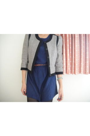 gray H&M blazer - blue Urban Outfitters dress - black Target tights - brown Fore