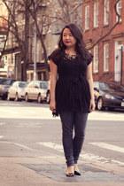 black Schutz shoes - heather gray Joes Jeans jeans - black free people shirt