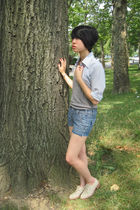 YSL shirt - Vintage Gap shoes - DIY shorts