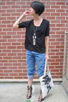 black Forever 21 shirt - black Forever 21 shoes - Levis jeans