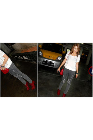 red shoes - gray jeans - white blouse - red purse