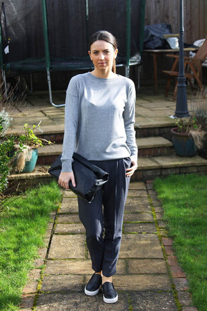 heather gray Primark jumper - dark gray Primark pants - black dune flats
