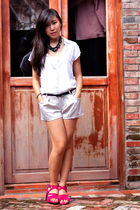 white blouse - silver shorts - pink Feel shoes - black belt - black Mira necklac