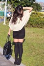 Peach-air-space-sweater-black-urban-outfitters-skirt-black-heels-black-pur