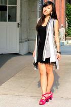 black dress - gray IMaxine cardigan - green air space purse - pink Feel shoes -