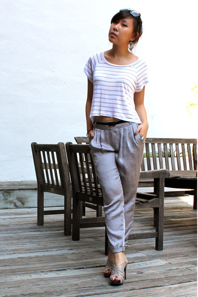 white LF top - silver pants - gray shoes - black Celine sunglasses - silver earr