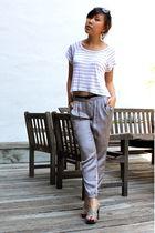 white LF top - silver pants - gray shoes - black Celine sunglasses - silver earr