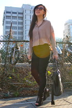 light pink blouse - black pants - black Steve Madden wedges - black Purr bag - b