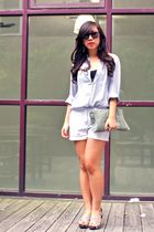 blue Esprit shirt - white shorts - beige shoes - green air space purse - black U