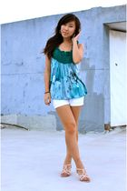 green Urban Outfitters top - white shorts - pink shoes - blue accessories - silv
