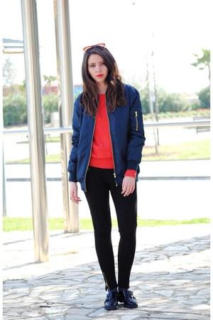 Zara sweater - Lefties jacket - Pull & Bear leggings - Zara sunglasses