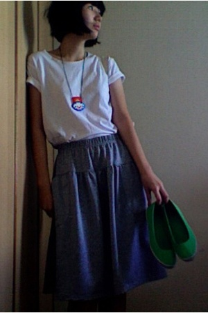 white Muji shirt - gray skirt - green Old Navy shoes - necklace