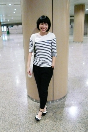 white zipia shirt - black zipia pants - black POA shoes - beige